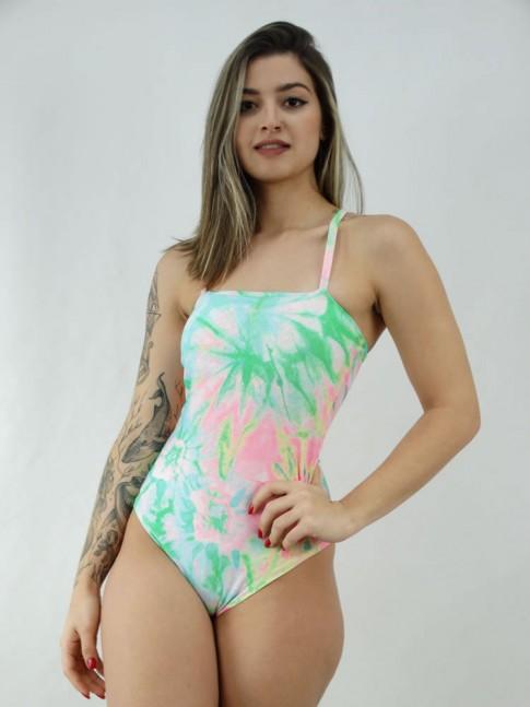 Body Reto Tie Dye com Bojo Suplex Verde e Rosa [2007098]