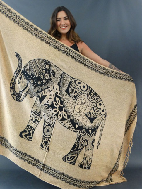 Canga em Viscose de Bali Areia Étnico Elefante Cachemir [1911136]