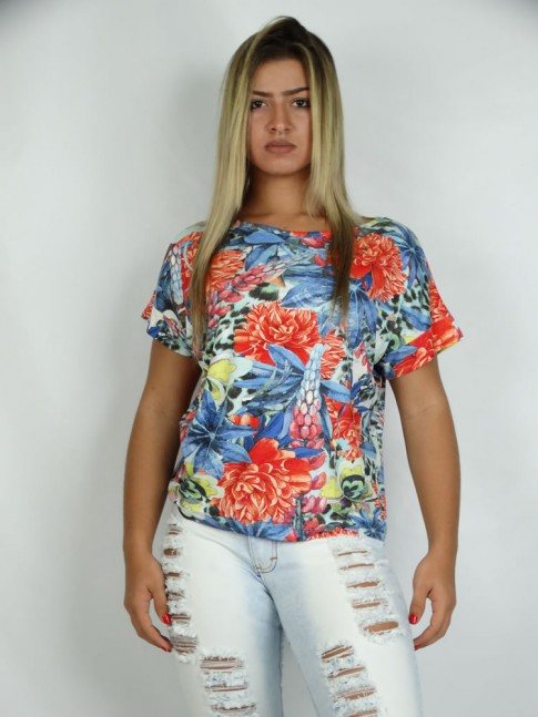 314 - Blusa gola canoa visco com Estampa Flower Azul  355