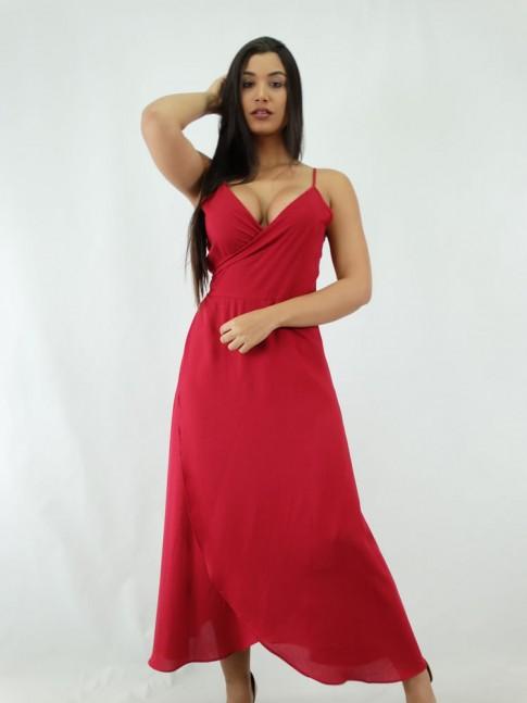 Vestido Envelope em Viscose Midi Vermelho