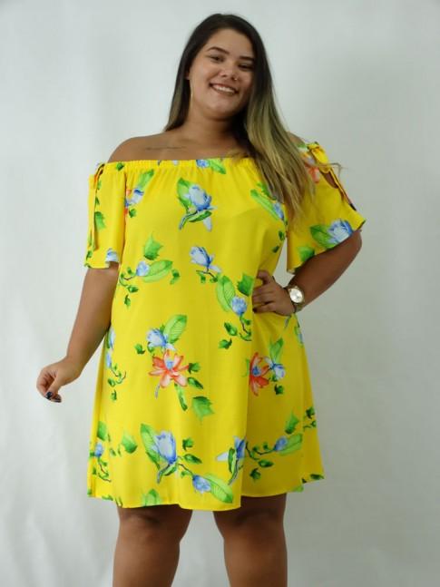 Vestido em Viscose Ciganinha Plus Size Amarelo Flores [1902267]