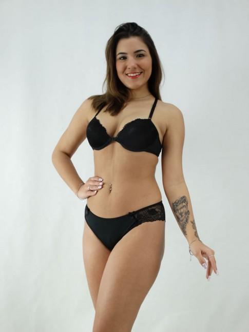 Conjunto Sutiã Nadador Rendado + Calcinha Lisa Com detalhe Renda Preto [2008088]
