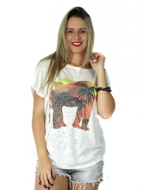 313 - Blusa Ombro Caido em Devorê Estampa Elefante  64