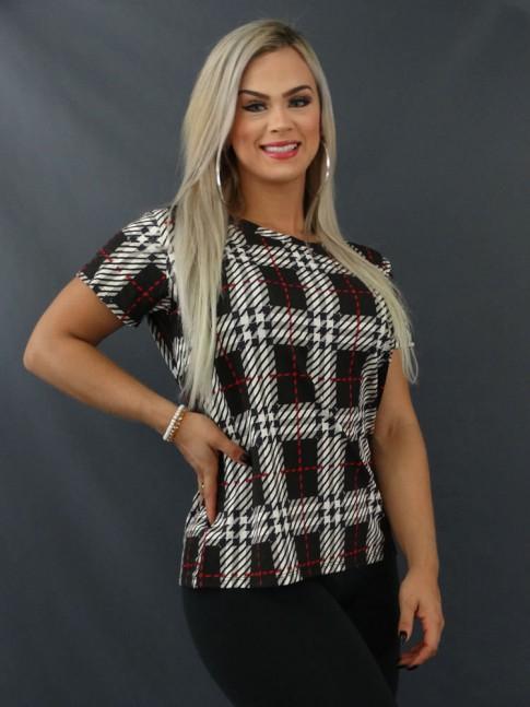 Blusa T-shirt Estampada em Viscolycra Preto Quadriculado [2103133]