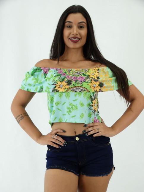 Blusa Cropped Ciganinha em Viscolycra Estampa Mandalas Flores Verdes