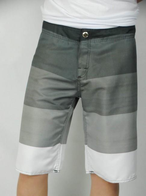 312-Bermuda masculina em microfibra botão sublimada listrada cinza e branco
