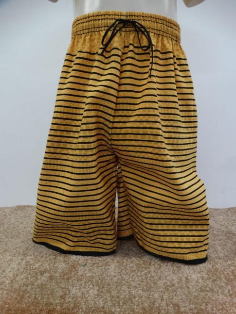 Bermuda Infantil em Microfibra Amarelo Listras e Quadrados [1901283]