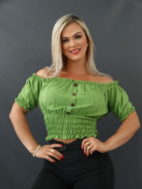 Blusa Ciganinha com Botões e Lastex em Viscose Verde Abacate [2101045]