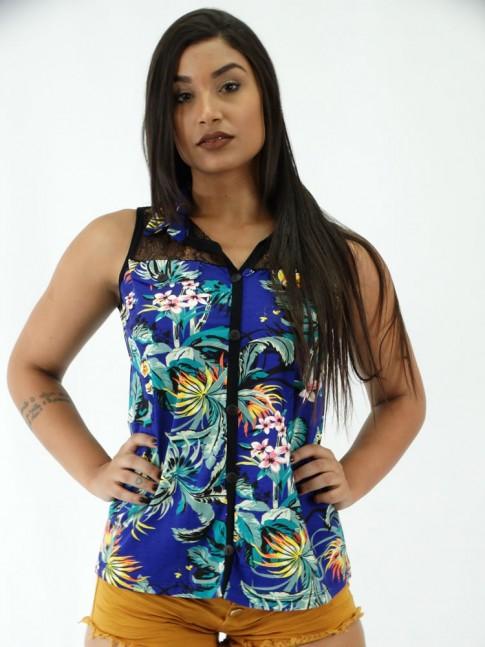 Blusa em Viscolycra com Gola e renda Flora Azul