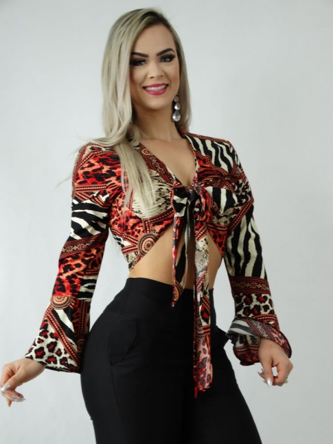 Blusa Cropped em Viscose Manga Longa Flare Decote Transpassado Estampa Animal Print [1906140]