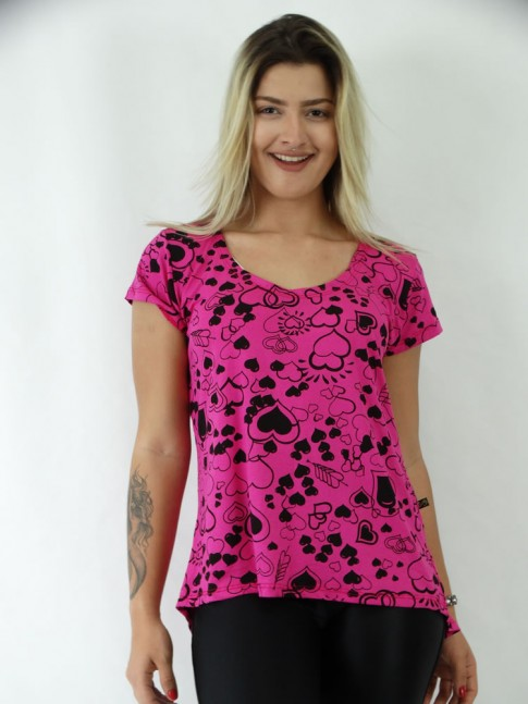 T-shirt Mullet em Viscolycra Coracoes