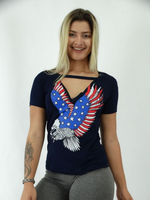 T-shirt Recorte V Viscolycra Aguia Americana