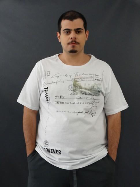 T-Shirt Masculina Estampada Cartão Postal Branco Plus Size [2010048]