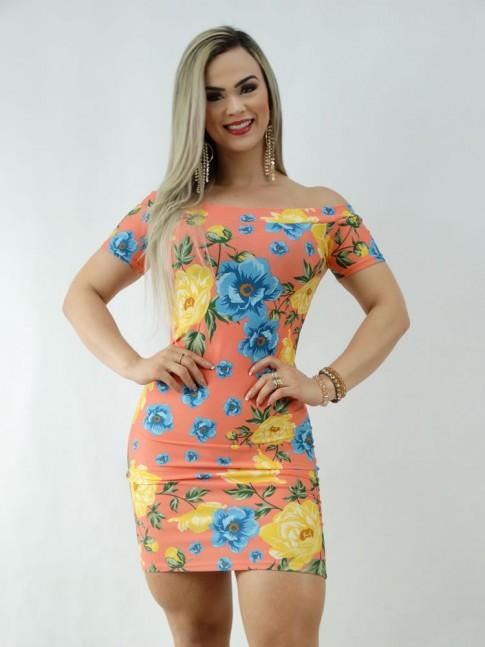 Vestido em Suplex com Manguinha Ombro a Ombro Salmao Flores [2003049]