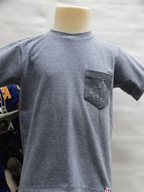 311 - T-shirt infantil com bolso listrado estampa coqueiro