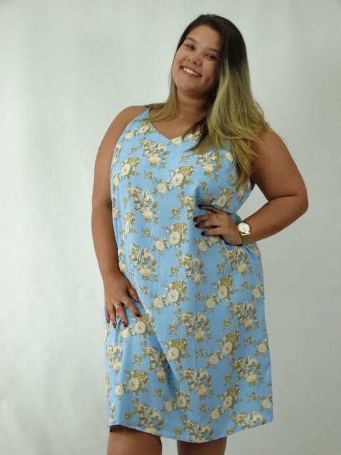 Vestido em Viscose Decote V Plus Size Azul Claro Flores [1812153]