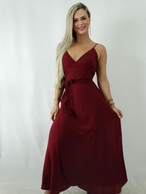 Vestido Envelope em Viscose Vinho Liso [1902081]