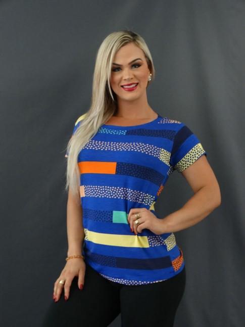 T-shirt Estampada em Viscolycra Azul Listras Colors Poá [2101017]
