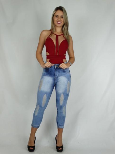 100 - Calça Jeans Esquine com Strech e Destroyed