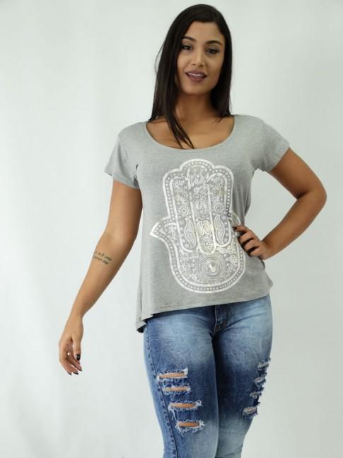 T-shirt em Viscolycra Mullet Estampa Mao Hansa