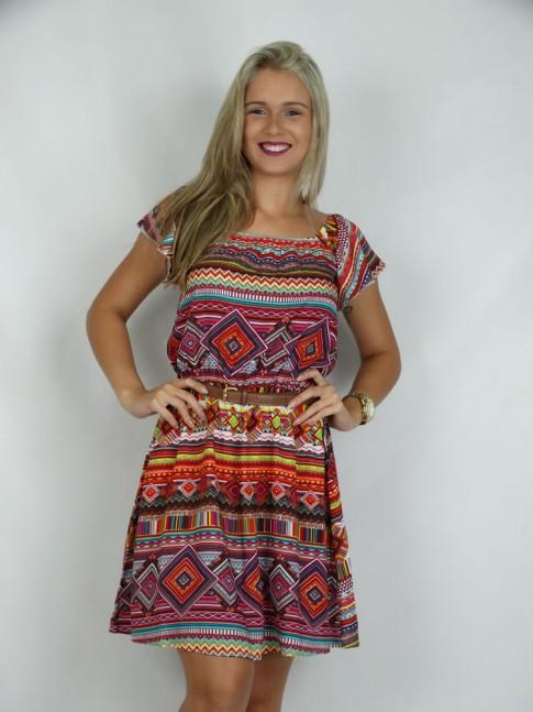 308 - Vestido Ciganinha em Viscose Estampa Etnica Vermelha