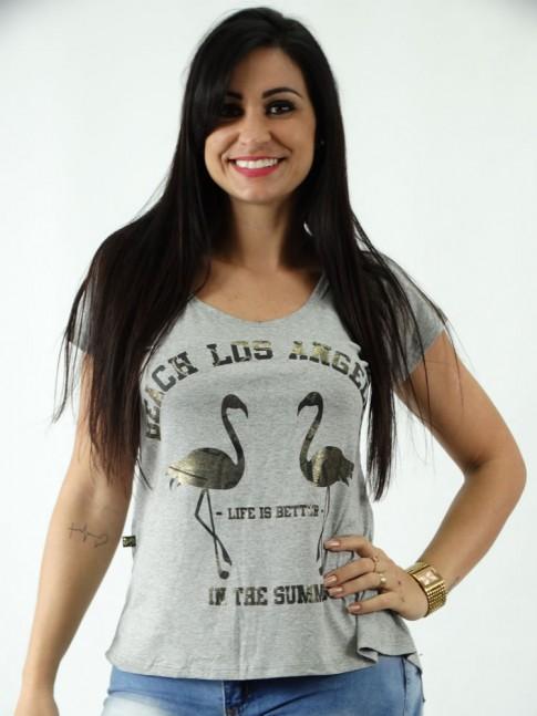 T-shirt em Viscolycra Mullet Estampa Flamingo