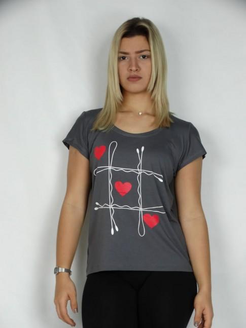 T-shirt em Viscolycra Jogo Coracoes