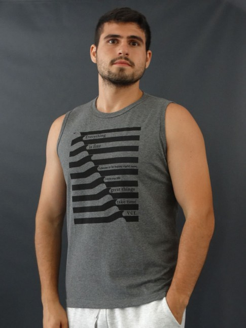 Camiseta Masculina Regata Estampada Listras Everything is Fine Cinza Mescla [2010027]