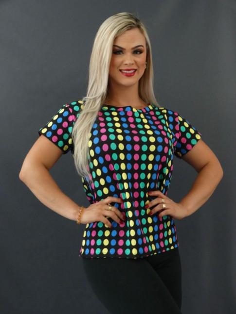 T-shirt Estampada em Viscolycra Preto Poá Colors [2101020]