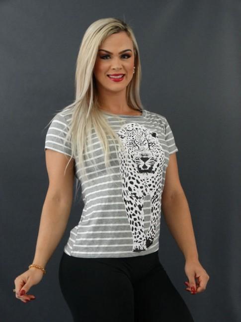 T-shirt Estampada em Viscolycra Cinza Listras Onça [2101019]