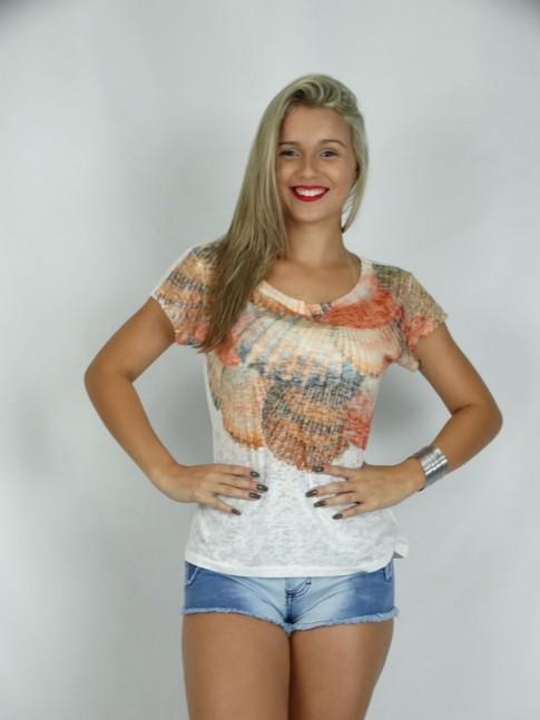 313 - T- Shirt Baby Look em Devorê  Estampa Conchas no Busto Alaranjado  63