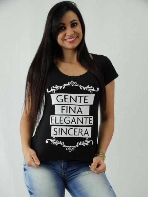 T-shirt em Viscolycra Mullet Estampa Gente Fina