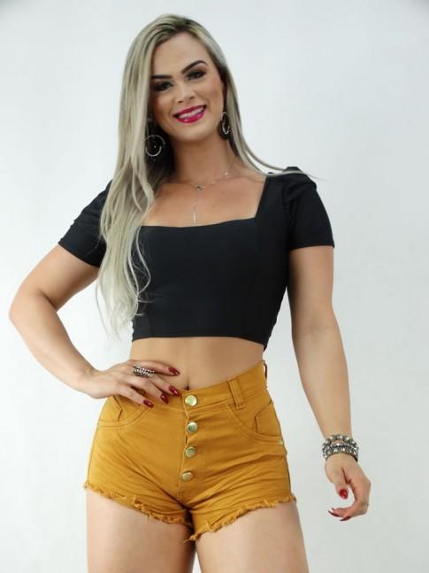 Short Jeans Caramelo Enrugado [170620]