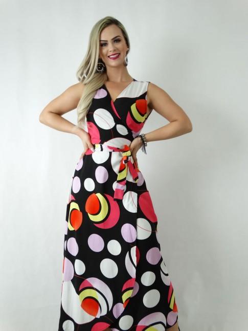 Vestido em Viscose Envelope Transpassado de Alça Larga Preto Círculos Colors [1905014]