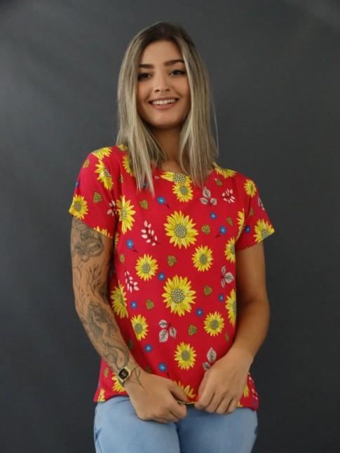 Blusa T-shirt Estampada em Viscolycra Rosa Margaridas [2103117]