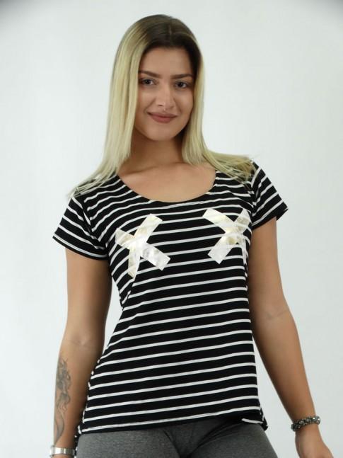 T-shirt em Viscolycra X Listrada