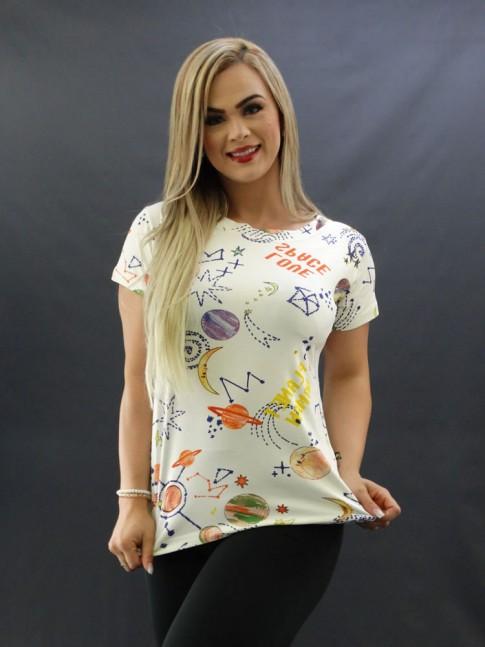 T-shirt Estampada em Viscolycra Off White Planetas [2009055]