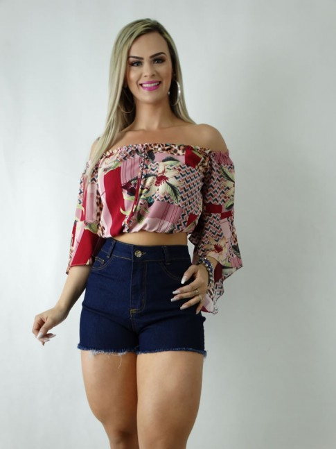 Short Jeans Hot Pants Barra Puida Escuro Liso