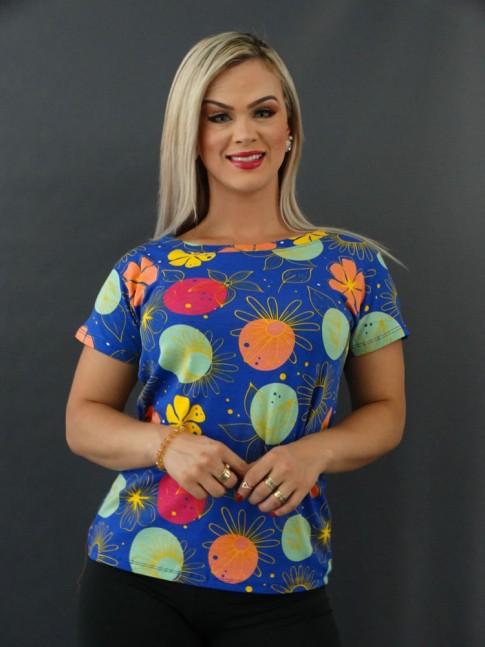 T-shirt Estampada em Viscolycra Azul Flores Poá Colors [2101006]