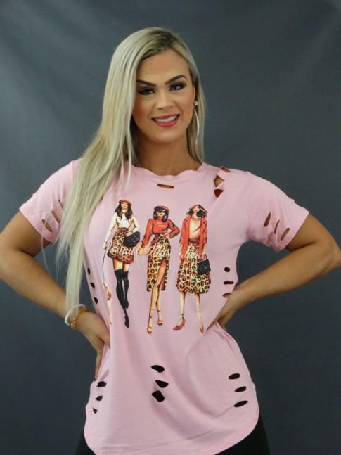 Blusa T-shirt Mullet Sobre Legging Corte à Laser em Viscolycra Rosa Claro Amigas [2103168]