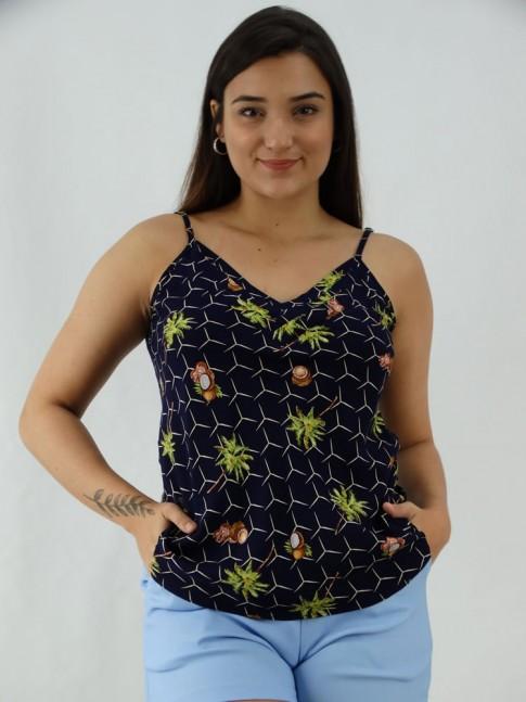 Blusa de Alça Decote V com Detalhes em Viscose Azul Marinho Coconut [2003008]