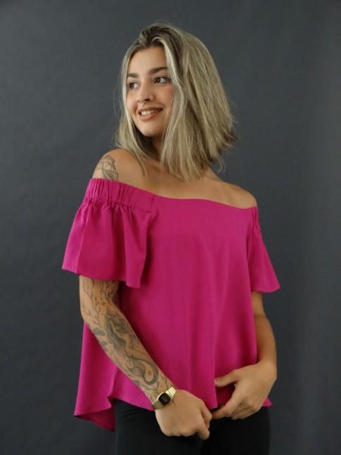 Blusa Ciganinha Viscose Estilo Bata Pink [2012160]