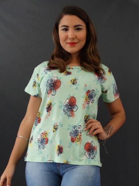 T-shirt Estampada em Viscolycra Verde Flores Relevo [2012009]