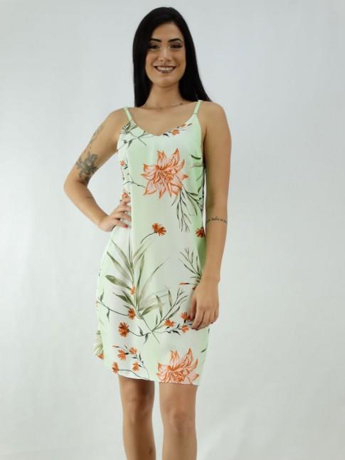 Vestido em Viscose de Alça Fina Decote V Verde Flores Ferrugem [1912111]