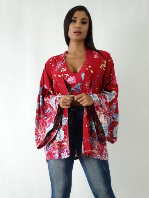 Kimono em Viscose Vermelho Flores [1904181&91;