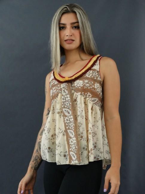 Blusa de Alça com Franjas em Voil Estampado Bege [2012090]