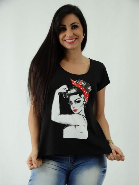 T-shirt em Viscolycra Mullet Estampa Empoderamento
