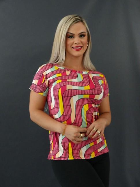 T-shirt Estampada em Viscolycra Rosa Listras Colors [2101003]