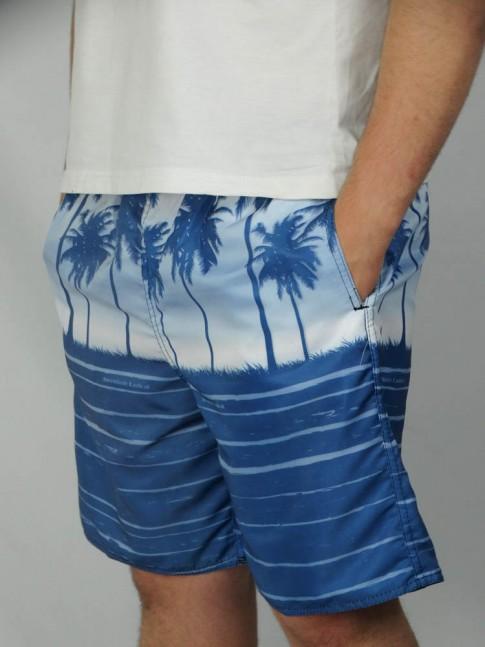 312-Short masculino em microfibra sublimado com elástico e cadarço estampa coqueiro azul