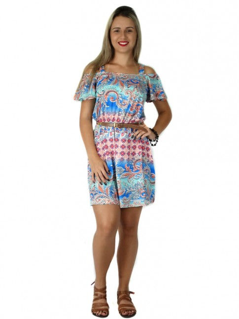 308 - Vestido Ciganinha Estampado em Viscolycra